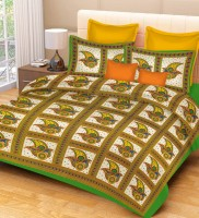 Metro Living Cotton Printed Double Bedsheet(1 Double Bed Sheet, 2 Pillow Covers, Green) best price on Flipkart @ Rs. 399
