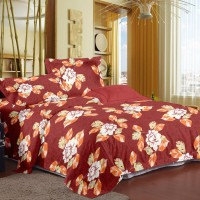 Story@Home Cotton Floral Double Bedsheet(1 Double Bedsheet With 2 Pillow Covers, Red)