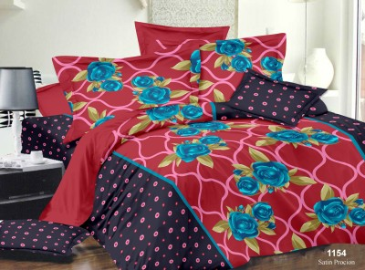 Richa Creation Satin Floral Queen sized Double Bedsheet