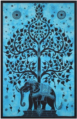 Linzina Mandala Tapestry Elephant Under Tree Wall hanging Bedsheet Cotton Printed Single Bedsheet