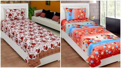 Home Cloud Polycotton Floral Single Bedsheet