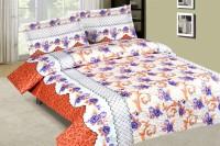 Calicomillsindia Cotton Floral Double Bedsheet(1 Bedsheet, 2 Pillow Cover, Brown)