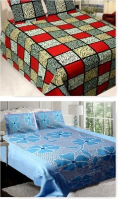 om trading Cotton Abstract King sized Double Bedsheet