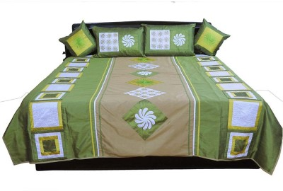 Shilpbazaar Silk Double Bed Cover(Green, 1 Double Bedcover, 2 Cushion Covers, 2 Pillow Covers)
