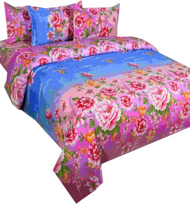SKYTEX Cotton Floral Single Bedsheet