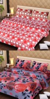 Ss Furnishings Cotton Floral Double Bedsheet(2 Bedsheet, 4 Pillow Covers, Multicolour)