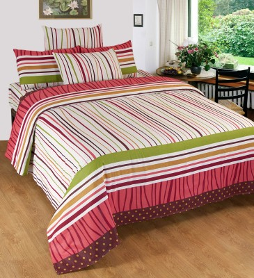 Optimistic Home Furnishing Cotton Striped Double Bedsheet