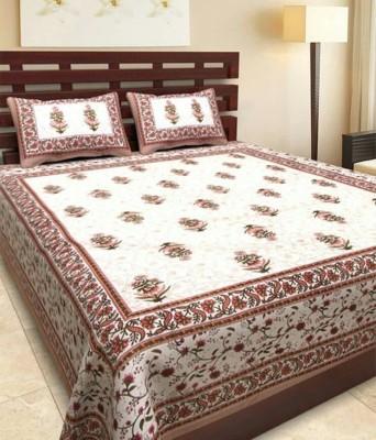 V Home Elegance Cotton Floral Double Bedsheet