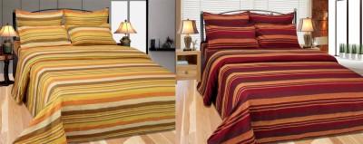 Maa Sharda Exports Polycotton Striped King sized Double Bedsheet