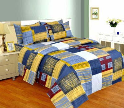 Salona Bichona Cotton Checkered Double Bedsheet