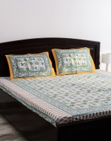 Vivid Rajasthan Cotton Abstract Queen sized Double Bedsheet(1 Bedsheet, 2 Pillow Covers, White, Brown)
