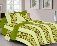 Prisha Cotton Floral Double Bedsheet(1 Bed Sheet, 2 Pillow Covers, Green)