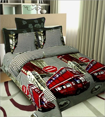 SHOPGRAB Cotton Striped Double Bedsheet