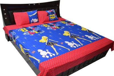 Fabbig Cotton Abstract Queen sized Double Bedsheet