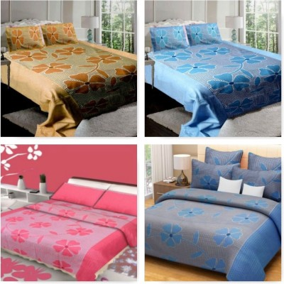om trading Cotton Floral King sized Double Bedsheet