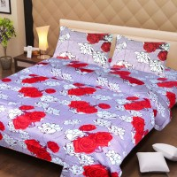 Ss Furnishings Cotton Floral Double Bedsheet(1 Bedsheet, 2 Pillow Covers, Multicolour)