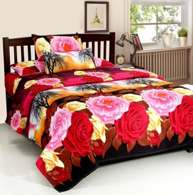 Optimistic Home Furnishing Polyester 3D Printed Double Bedsheet