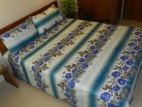CocoBee Cotton Floral Double Bedsheet(1 Bedsheet, 2 Pillow Covers, Multicolor)
