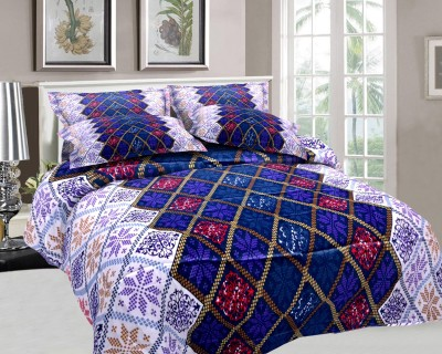 The White Moss Cotton, Satin Abstract Double Bedsheet