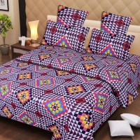IWS Cotton Printed Double Bedsheet(1 Double Bedsheet, 2 Pillow Covers, Multicolor)