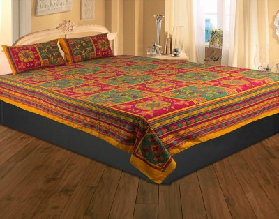 Rajasthan Crafts Cotton Embroidered Double Bedsheet
