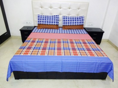 K Gallery Cotton Checkered Double Bedsheet