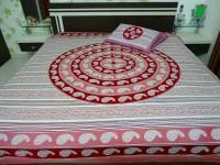 RK Raag Rang Cotton Printed Bedsheet(1 Bed Sheet, 2 pillow covers, mauve, White)