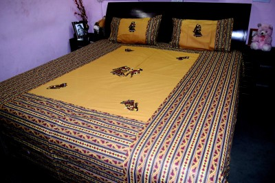 Rajasthani Decor Cotton Abstract King sized Double Bedsheet