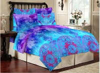 Bombay Dyeing Cotton Printed Double Bedsheet(1 Double Bedsheet, 2 Pillow Covers, Blue, Pink)