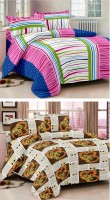Story@Home Cotton Abstract Double Bedsheet(Set of 2 Double Bedsheet With 4 Pillow Cover, Multicolor)