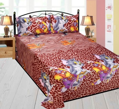 Singhs Villas Decor Polycotton 3D Printed Double Bedsheet