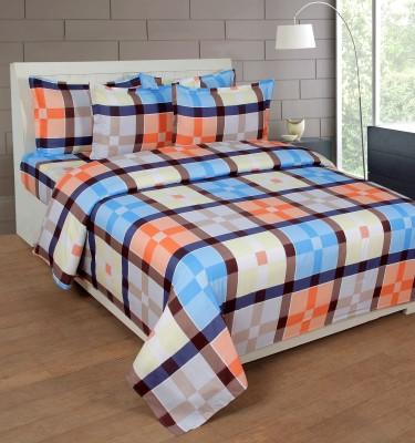 NIRWANA Polycotton Checkered Double Bedsheet
