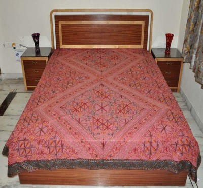 Lal Haveli Cotton Embroidered Double Bedsheet