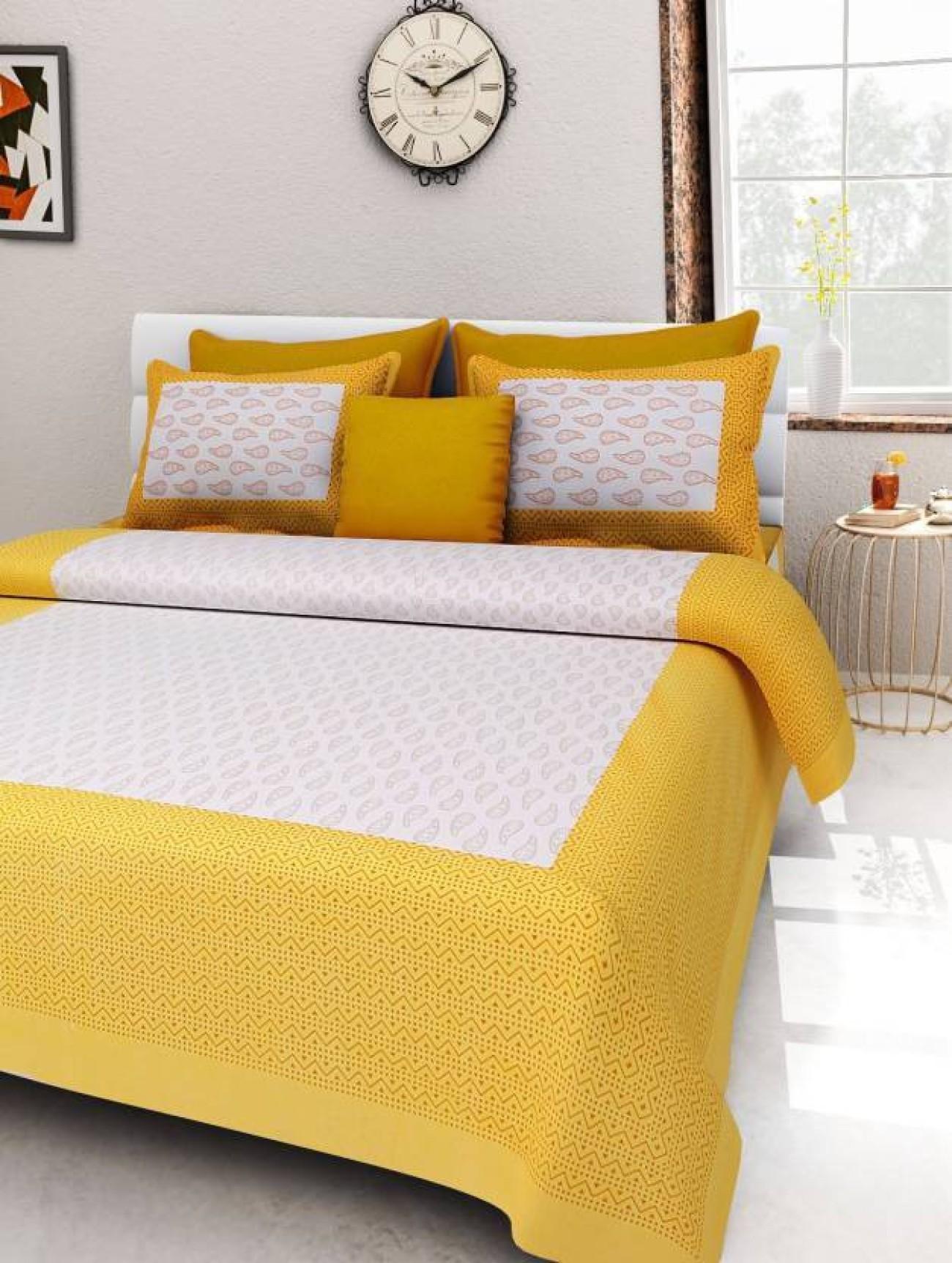 ORIGINAL LABOUR Cotton Floral King sized Double Bedsheet(1 BEDSHEET, 2 PILLOW COVER, Multicolor)