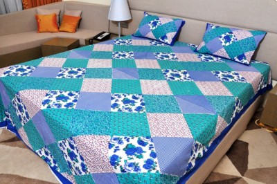 Glitter Cotton Embroidered King sized Double Bedsheet