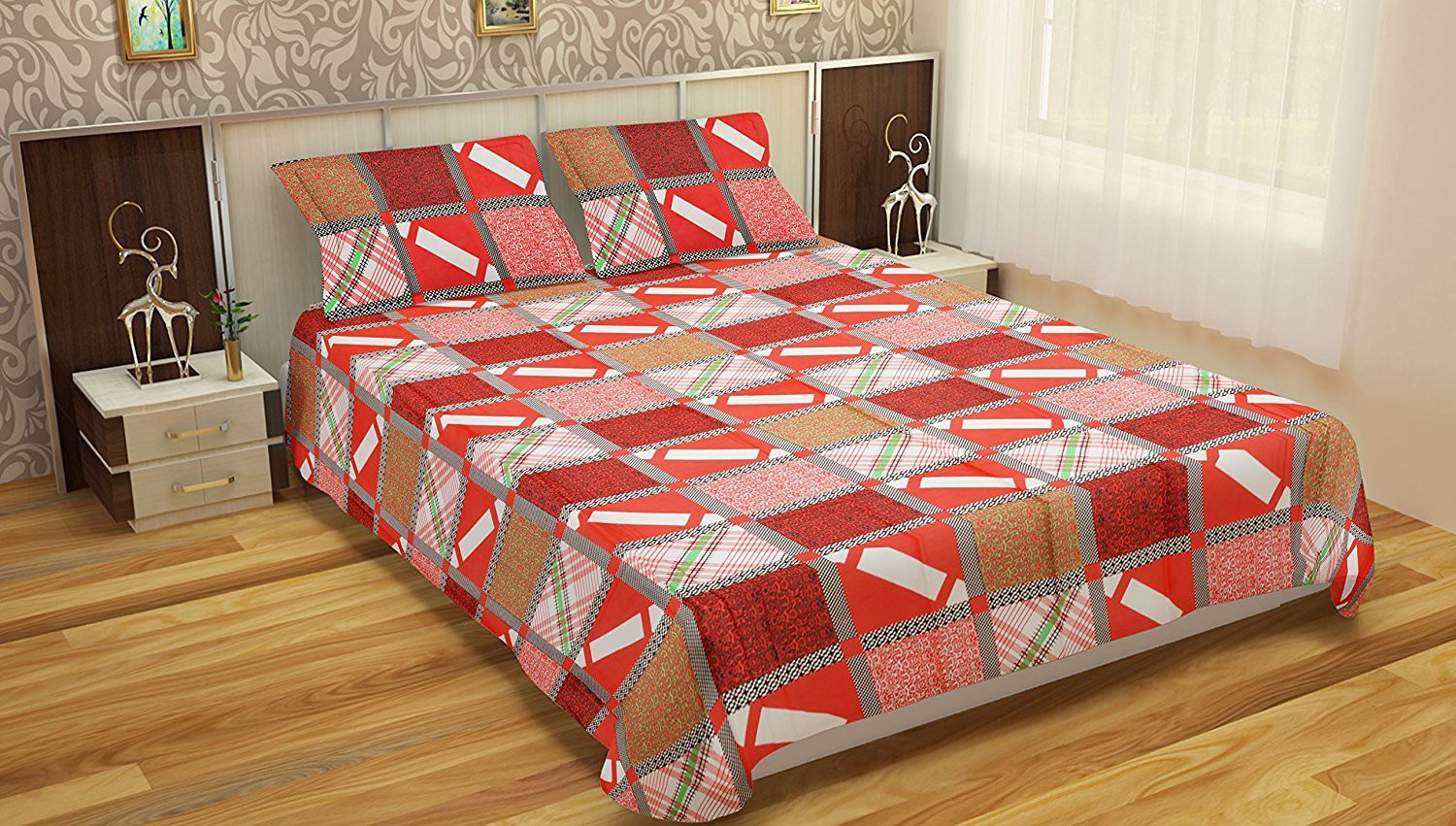 Comforthome Cotton Printed Double Bedsheet(1 double bedsheet and 2 Pillow Cover, Multicolor)