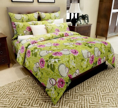 Home Candy Cotton Floral Double Bedsheet(1 Double Bedsheet, 2 Pillow Covers, Green)