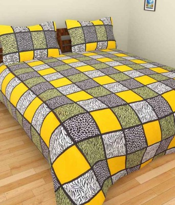 Lakshay Cotton Checkered Double Bedsheet