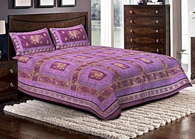 Jaipuri Haat Cotton Embroidered King sized Double Bedsheet