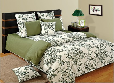 Swayam Floral Double Quilts & Comforters Green, White