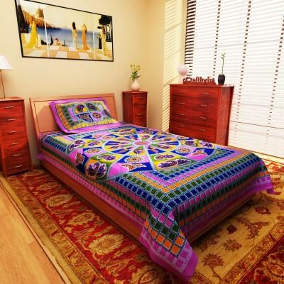 eCraftIndia Cotton Abstract Single Bedsheet