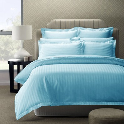 Story @ Home Satin, Cotton Striped King sized Double Bedsheet