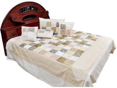 Shilpbazaar Silk Double Bed Cover(White, 1 Double Bedcover, 2 Cushion Covers, 2 Pillow Covers)