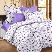 Ahmedabad Cotton Cotton Geometric Double Bedsheet(1 Double Bedsheet, 2 Pillow Covers, White, Purple)