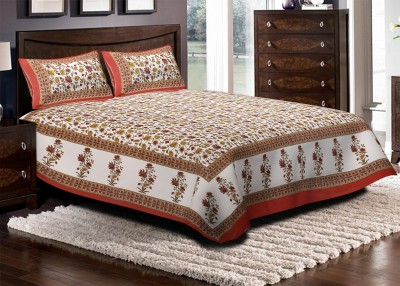 RusticIndia Cotton Floral King sized Double Bedsheet