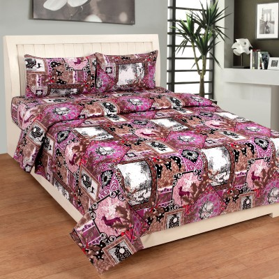 countingbeds Cotton Abstract Double Bedsheet
