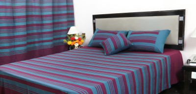 Deco Domicile Cotton Striped Double Bedsheet