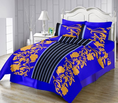 LISSOME Satin Floral King sized Double Bedsheet