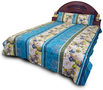 Little India Cotton Self Design Double Bedsheet