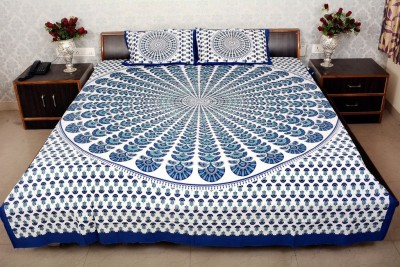 shop jaipuri rajasthani Cotton Printed King sized Double Bedsheet